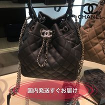 CHANEL ICON Calfskin 2WAY Chain Plain Purses Shoulder Bags