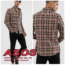 ASOS Button-down Other Check Patterns Long Sleeves Shirts