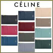 CELINE Zipped Calfskin Plain Card Holders