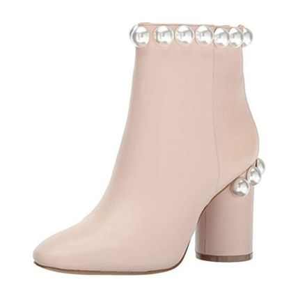Casual Style Plain Leather Block Heels Ankle & Booties Boots