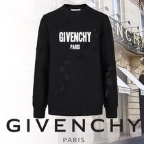 GIVENCHY Pullovers Street Style Long Sleeves Plain Cotton Sweatshirts