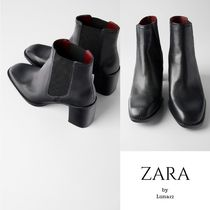 ZARA Casual Style Plain Leather Chelsea Boots