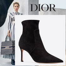 Christian Dior Suede Plain Leather Pin Heels Ankle & Booties Boots