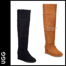 UGG Australia Plain Toe Casual Style Suede Plain Over-the-Knee Boots
