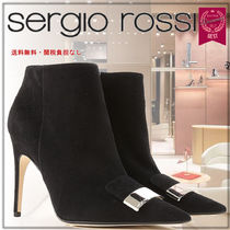 Sergio Rossi Blended Fabrics Studded Plain Leather Pin Heels