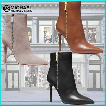 Suede Plain Leather Pin Heels High Heel Boots