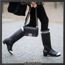 CHANEL ICON Rubber Sole Bi-color Plain Block Heels Flat Boots