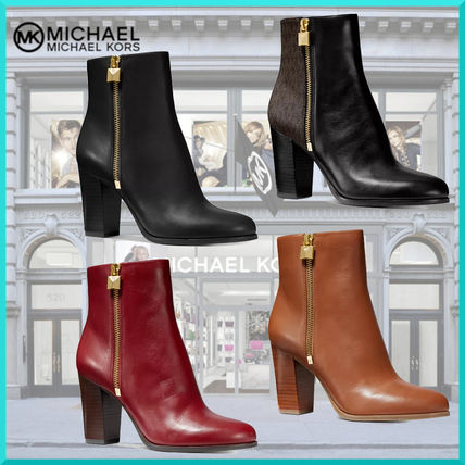 Monogram Plain Leather Block Heels High Heel Boots