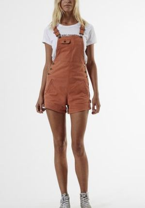 Short Dungarees Casual Style Tight Street Style Plain Cotton