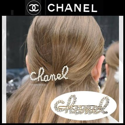 CHANEL ICON Barettes Casual Style Blended Fabrics With Jewels