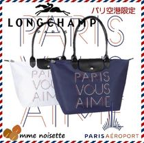 Longchamp Casual Style Nylon Collaboration A4 Leather Handbags