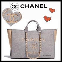 CHANEL DEAUVILLE Casual Style Unisex Blended Fabrics A4 2WAY Bi-color Plain