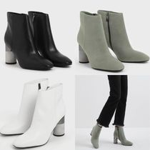 Charles&Keith Casual Style Suede Faux Fur Plain Block Heels Boots Boots