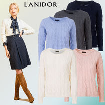 LANIDOR Crew Neck Cable Knit Wool Long Sleeves Plain Knitwear