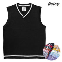 Cable Knit Unisex Wool Sweat Sleeveless Street Style V-Neck