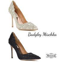 Badgley Mischka Plain With Jewels Elegant Style Kitten Heel Pumps & Mules