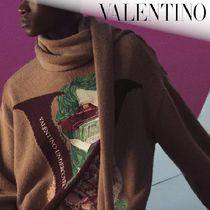 VALENTINO Pullovers Flower Patterns Wool Collaboration Long Sleeves