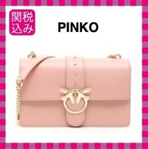 PINKO Calfskin Plain Party Style Shoulder Bags