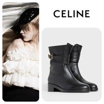 CELINE Plain Toe Plain Leather Elegant Style Ankle & Booties Boots