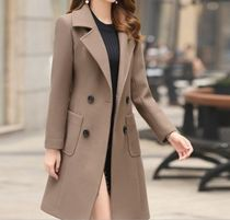 Short Casual Style Wool Long Chester Coats