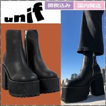UNIF Clothing Platform Rubber Sole Casual Style Plain Leather Block Heels