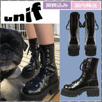 UNIF Clothing Platform Rubber Sole Casual Style Plain Leather