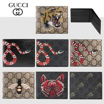 GUCCI GG Supreme Unisex Calfskin Other Animal Patterns Leather