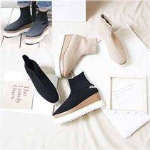 Square Toe Platform Casual Style Faux Fur Plain