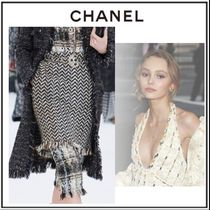 CHANEL Flared Skirts Tweed Long Elegant Style Maxi Skirts
