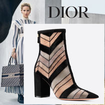 Christian Dior Velvet Blended Fabrics With Jewels Ankle & Booties Boots