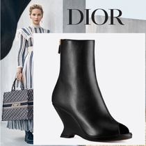 Christian Dior Open Toe Platform Plain Leather Ankle & Booties Boots