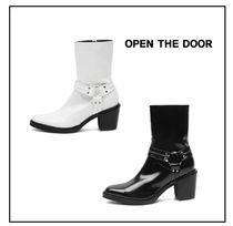 OPEN THE DOOR Faux Fur Plain Mid Heel Boots