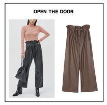 OPEN THE DOOR Faux Fur Plain Leather & Faux Leather Pants