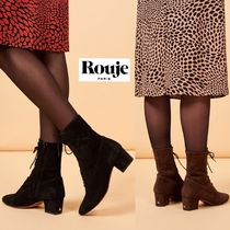 Rouje Leather Elegant Style Chunky Heels Ankle & Booties Boots