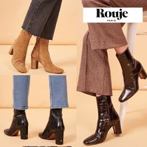 Rouje Plain Leather Elegant Style Ankle & Booties Boots