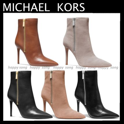 Michael Kors Ankle & Booties Suede Plain Leather Pin Heels Elegant Style