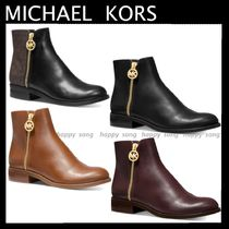 Michael Kors Plain Leather Pin Heels Elegant Style Ankle & Booties Boots
