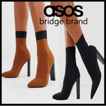 ASOS Plain Block Heels Party Style Elegant Style Dark Brown