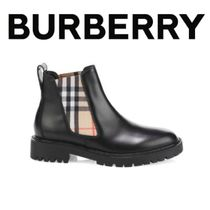 Burberry Tartan Round Toe Leather Chelsea Boots PVC Clothing
