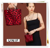 UNIF Clothing Leopard Patterns Casual Style Street Style Handbags