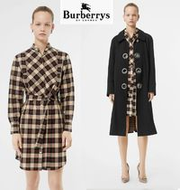 Burberry Short Other Check Patterns Casual Style Long Sleeves Cotton
