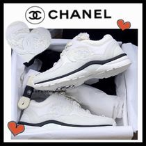 CHANEL SPORTS Unisex Suede Tweed Blended Fabrics Plain Sneakers