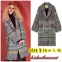 ELF SACK Other Check Patterns Zigzag Casual Style Wool Long Oversized