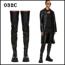 032c Casual Style Plain Leather High Heel Boots