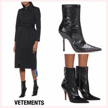 VETEMENTS Casual Style Plain Other Animal Patterns Leather Pin Heels