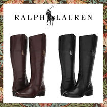 Ralph Lauren Round Toe Plain Leather Block Heels Mid Heel Boots
