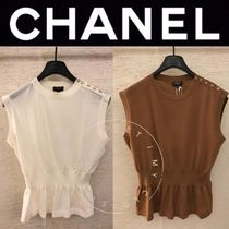 CHANEL ICON Blended Fabrics Street Style U-Neck Plain Handmade