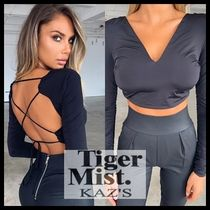 Tiger Mist Short Casual Style V-Neck Long Sleeves Plain Cropped