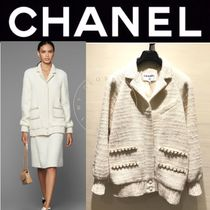 CHANEL ICON Casual Style Wool Tweed Blended Fabrics Street Style