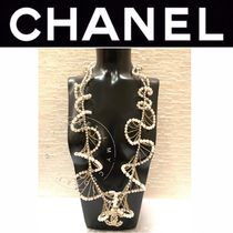 CHANEL ICON Blended Fabrics Chain Handmade Party Style With Jewels